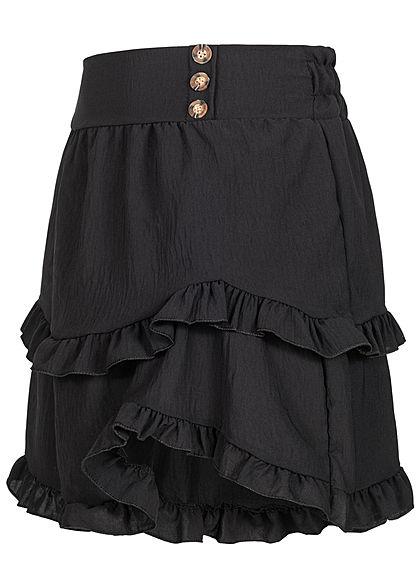 Styleboom Fashion Damen Frill Stufenrock mit Deko Knopfleiste schwarz