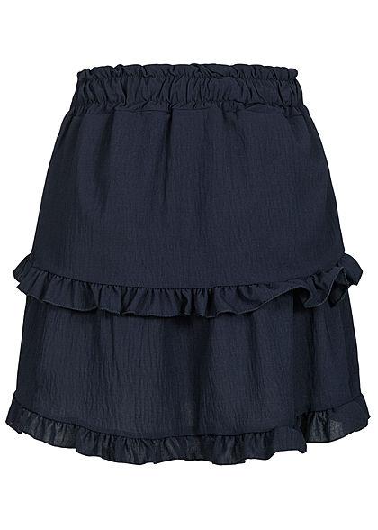 Styleboom Fashion Damen Frill Stufenrock mit Deko Knopfleiste navy dunkel blau