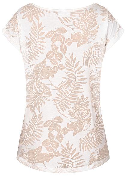 Seventyseven Lifestyle Damen T-Shirt Burnout Tropical Print weiss