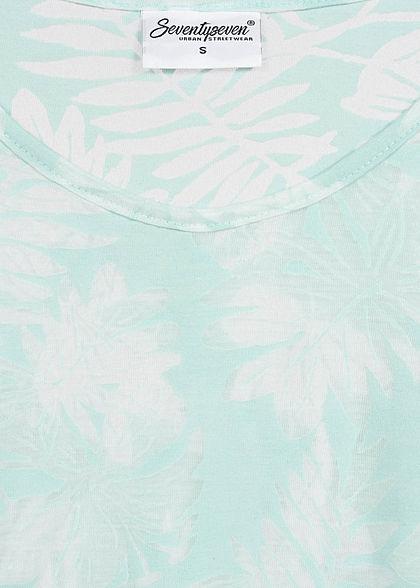 Seventyseven Lifestyle Damen T-Shirt Burnout Tropical Print mint grün