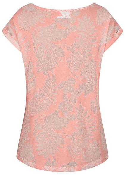 Seventyseven Lifestyle Damen T-Shirt Burnout Tropical Print rosa
