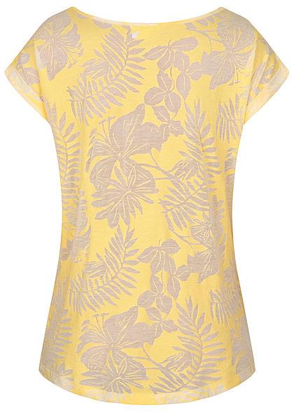 Seventyseven Lifestyle Damen T-Shirt Burnout Tropical Print gelb