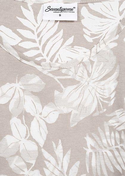 Seventyseven Lifestyle Damen T-Shirt Burnout Tropical Print silber grau