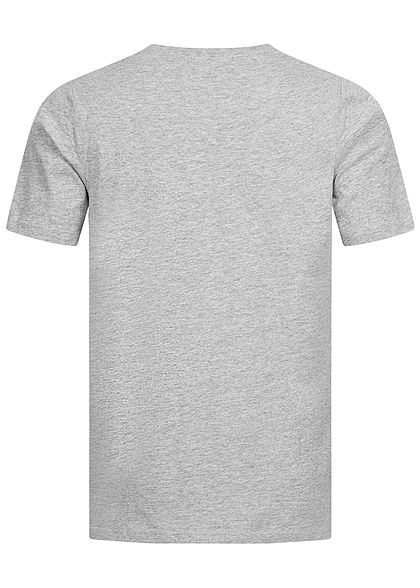 Seventyseven Lifestyle Herren 2-Tone Melange T-Shirt Logo Print Brusttasche grau schwarz