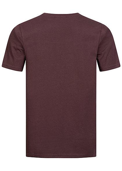 Seventyseven Lifestyle Herren 2-Tone Melange T-Shirt Logo Brusttasche bordeaux rot navy