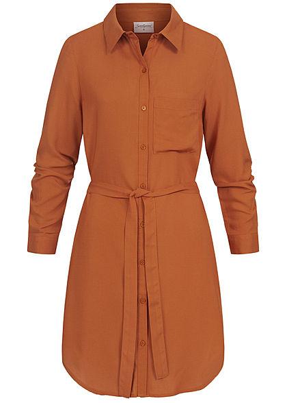 Seventyseven Lifestyle Damen Turn-Up Blusen Kleid inkl. Bindegürtel caramel braun
