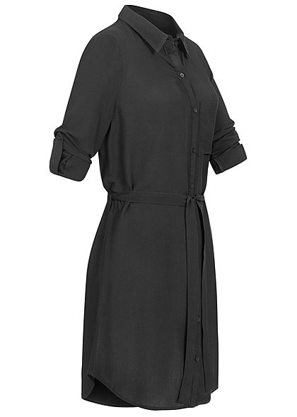 Seventyseven Lifestyle Damen Turn-Up Blusen Kleid inkl. Bindegürtel schwarz