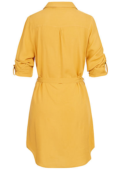 Seventyseven Lifestyle Damen Turn-Up Blusen Kleid inkl. Bindegürtel mustard gelb