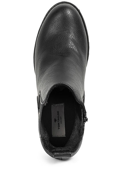 Tom Tailor Damen Schuh Boots Stiefelette Absatz 8,5cm Kunstleder schwarz