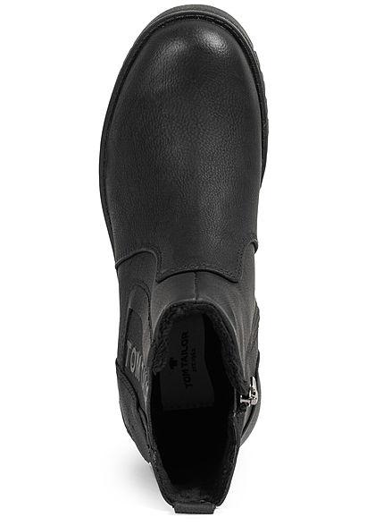 Tom Tailor Damen Schuh Boots Stiefelette Kunstleder Zipper innen schwarz