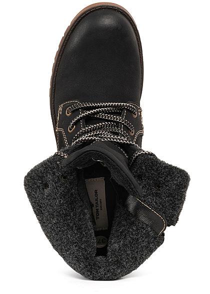 Tom Tailor Damen Schuh Worker Boots Stiefelette Kunstleder Zipper schwarz braun