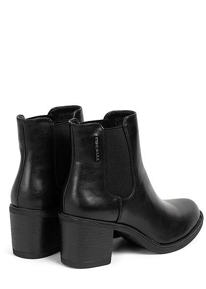 Tom Tailor Damen Schuh Boots Stiefelette Absatz 6cm Kunstleder schwarz