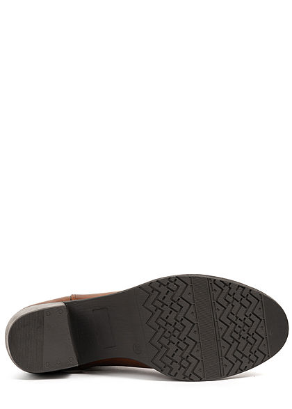Tom Tailor Damen Schuh Boots Stiefelette Absatz 6cm Kunstleder cognac braun