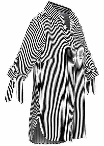Hailys Damen 3/4 Arm Turn-Up Bluse Brusttasche Streifen Muster schwarz weiss