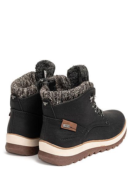 Tom Tailor Damen Schuh Worker Boots Stiefelette Kunstleder Zipper schwarz
