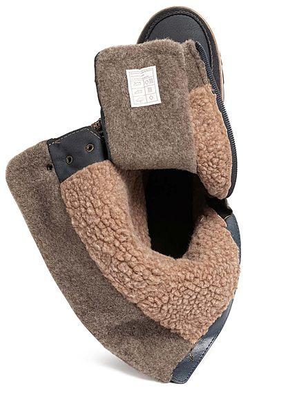 Tom Tailor Damen Schuh Worker Boots Halbstiefel Kunstleder Zipper navy blau