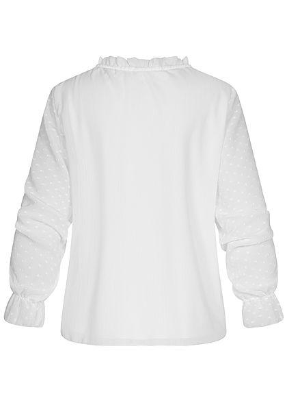 Hailys Damen V-Neck Blusen Shirt Schnürung Volantärmel Punkte Muster off weiss
