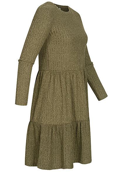 Hailys Damen Ribbed Stufenkleid khaki grün