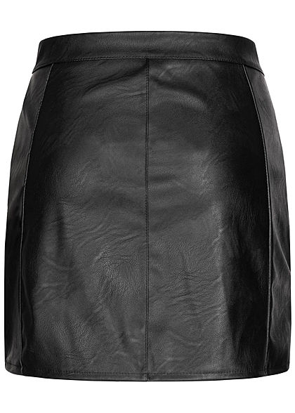 Hailys Damen Mini Rock Kunstleder Zipper vorne 2-Pockets schwarz