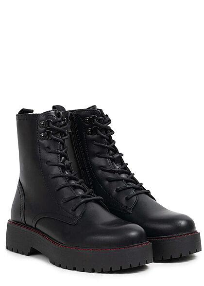 Hailys Damen Schuh Worker Boots Plateau Stiefelette Kunstleder schwarz rot