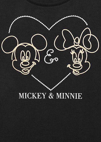 Zabaione Damen T-Shirt Mickey und Minnie Mouse Herz Print schwarz