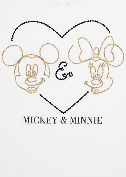 Zabaione Damen T-Shirt Mickey und Minnie Mouse Herz Print weiss