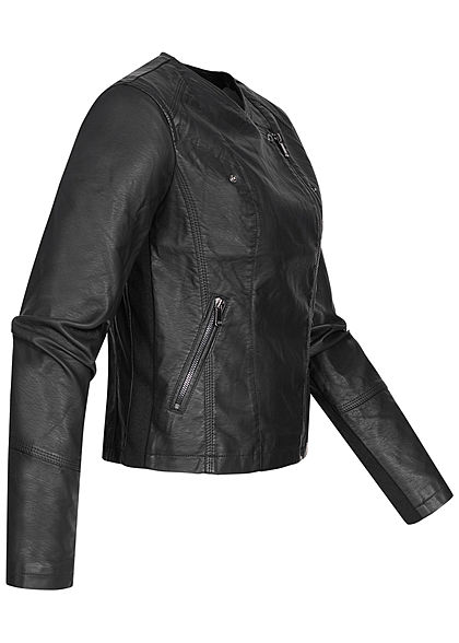 Zabaione Damen Kunstleder Biker Jacke 2-Pockets aysmm. Zipper schwarz