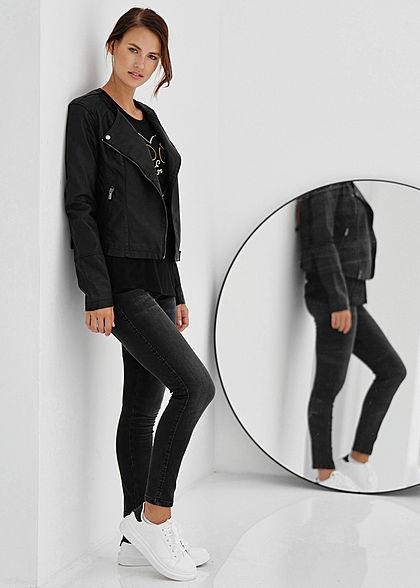 Zabaione Damen Ankle Skinny Jeans Hose 5-Pockets schwarz denim