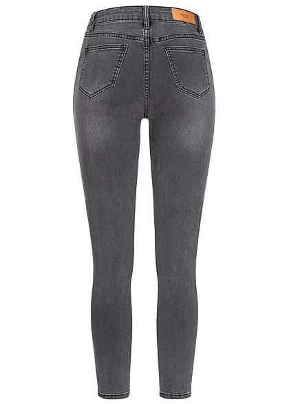 Hailys Damen High-Waist Skinny Jeans Hose 4er Knopfleiste 5-Pockets dunkel grau denim