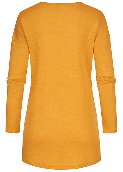 Hailys Damen Basic Cardigan 2-Pockets offener Schnitt golden gelb