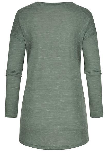 Hailys Damen Basic Cardigan 2-Pockets offener Schnitt jade grün