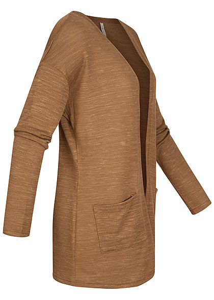 Hailys Damen Basic Cardigan 2-Pockets offener Schnitt camel braun