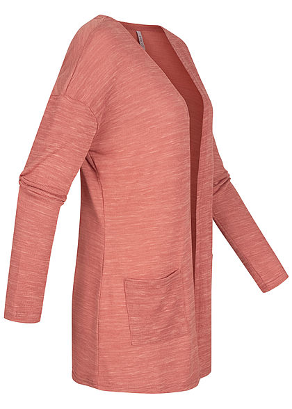Hailys Damen Basic Cardigan 2-Pockets offener Schnitt dusty rosa