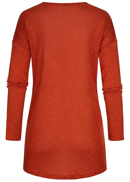 Hailys Damen Basic Cardigan 2-Pockets offener Schnitt burned orange rot