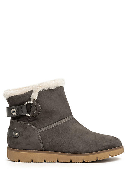 Tom Tailor Damen Schuh Winter Boots Stiefelette Velour-Optik coal grau