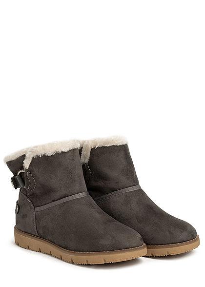 Tom Tailor Damen Schuh Winter Boots Stiefelette Velour-Optik coal grau