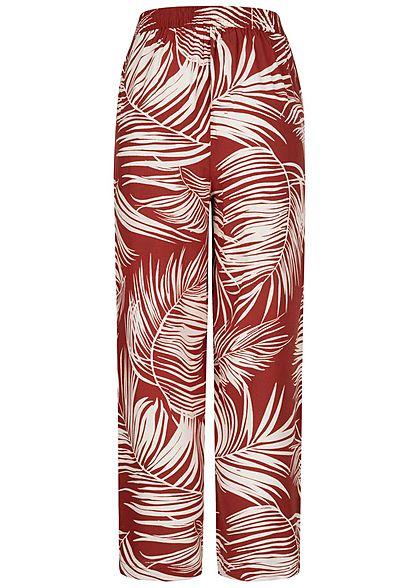 ONLY Damen Culotte Sommerhose Bindedetail vorne Tropical Print burnt henna braun
