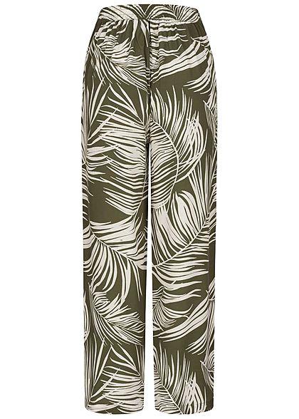 ONLY Damen Culotte Sommerhose Bindedetail vorne Tropical Print kalamata oliv grün