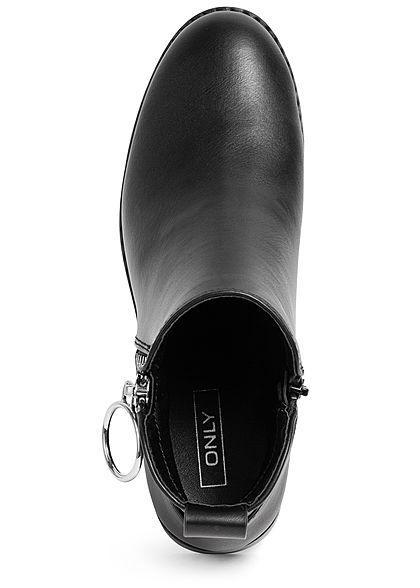 ONLY Damen Schuh Kunstleder Stiefelette 2 Zipper schwarz
