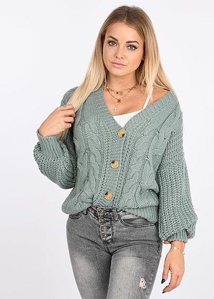 Styleboom Fashion Damen V-Neck Zopf Strickcardigan mit Knopfleiste jade grün