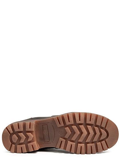 Tom Tailor Damen Schuh Boots Stiefelette Kunstleder Zipper innen coal grau