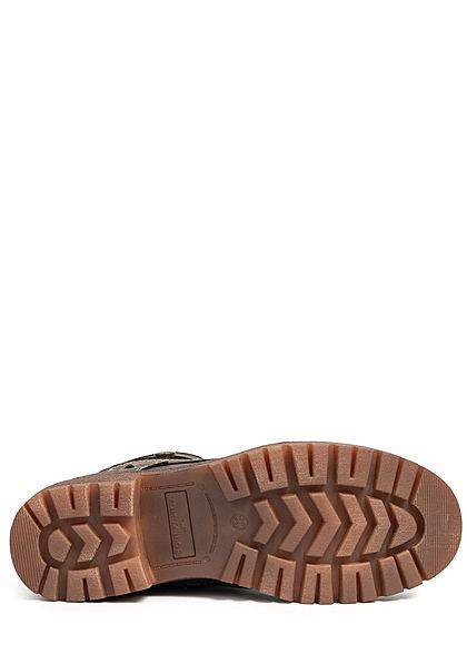 Tom Tailor Damen Schuh Worker Boots Stiefelette Kunstleder Zipper innen lava braun