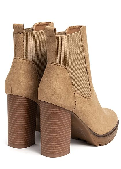 ONLY Damen Schuh Block Heel Boots Velour-Optik Absatz 10cm beige