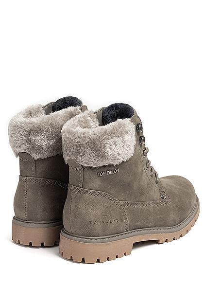 Tom Tailor Damen Schuh Worker Boots Stiefelette Kunstleder Fellimitat mud grau