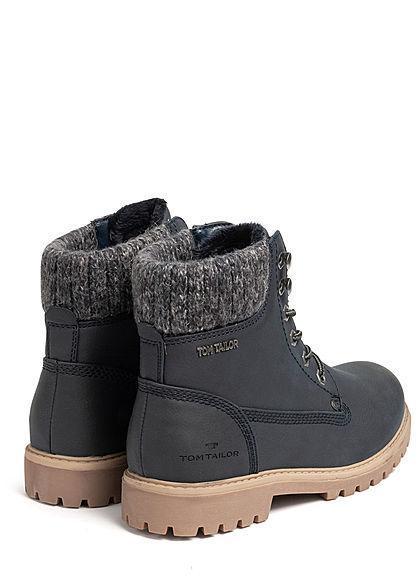 Tom Tailor Damen Schuh Worker Boots Stiefelette Kunstleder navy blau