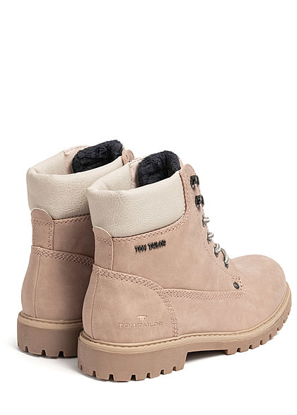 Tom Tailor Damen Schuh Worker Boots Stiefelette Kunstleder nude beige