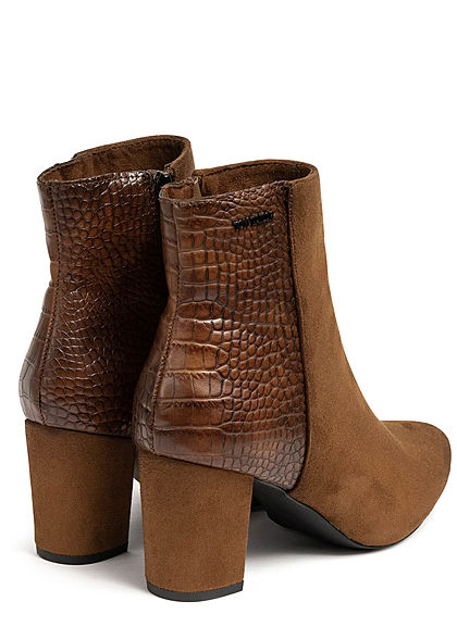 Tom Tailor Damen Schuh Boots Stiefelette Absatz 7cm Velour Optik braun