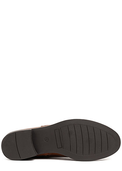 Tom Tailor Damen Schuh Boots Stiefelette Kunstleder Riemendetail cognac braun