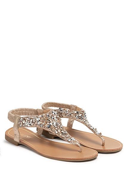 Hailys Damen Schuh Sandale Zehensteg Deko Glitzer Steine gold silber