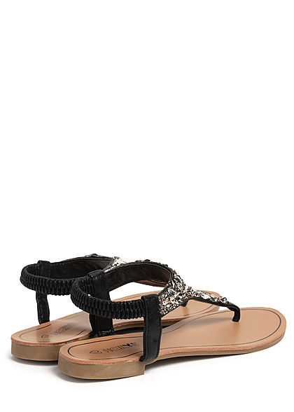 Hailys Damen Schuh Sandale Zehensteg Deko Glitzer Steine schwarz silber